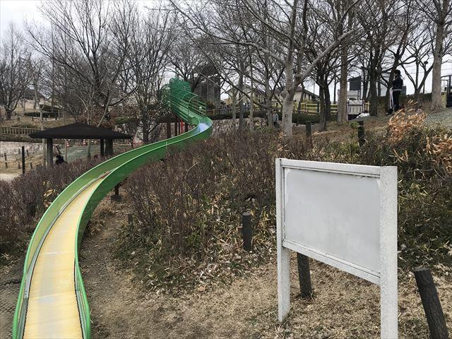 竹取公園の「学びの森」ローラー滑り台