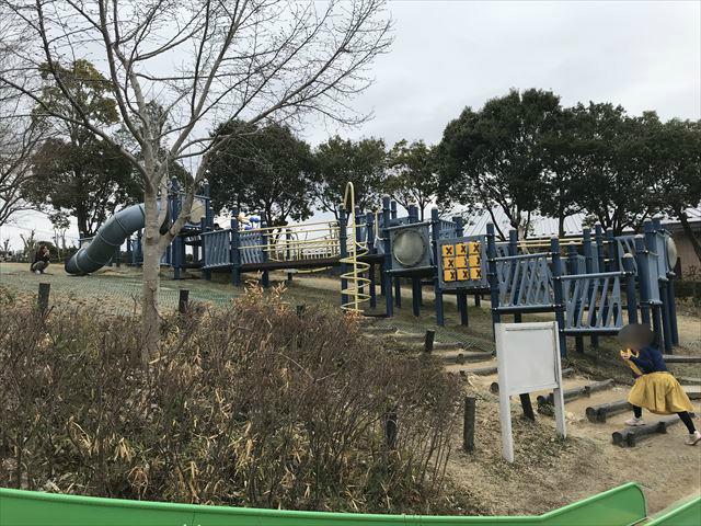 竹取公園の「学びの森」にある複合遊具