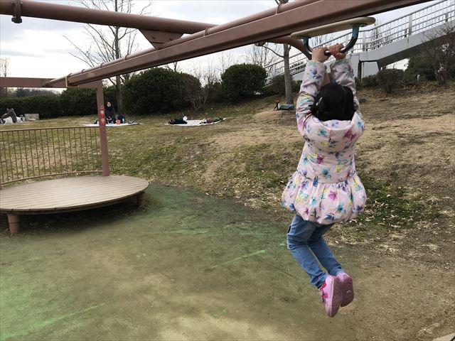 「馬見丘陵公園」ぶら下がって移動する遊具