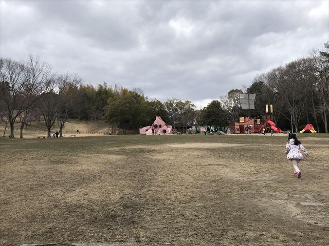 「大渕池公園・東地区」芝生と遊具