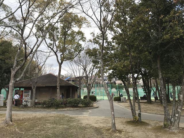 「大渕池公園・東地区」トイレと自動販売機、テニスコート