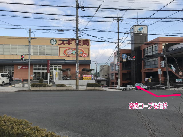 奈良コープ、スギ薬局、ダイソー学園前店