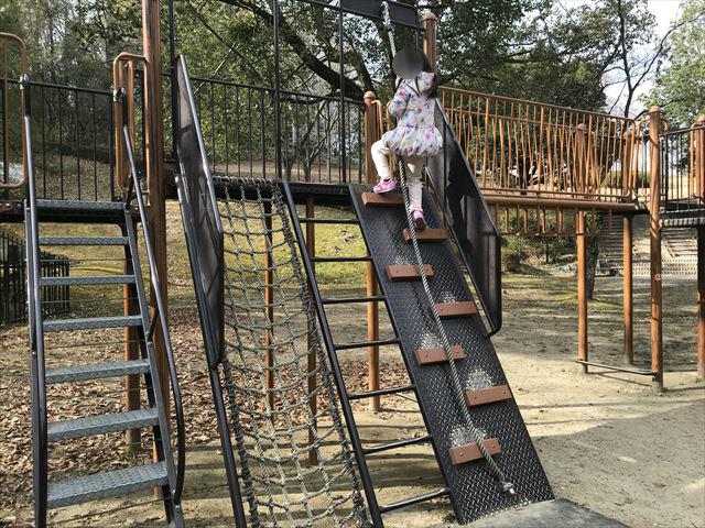 大渕池公園西地区の複合遊具(ミニアスレチックタイプ)。ロープを持ちながら登る様子