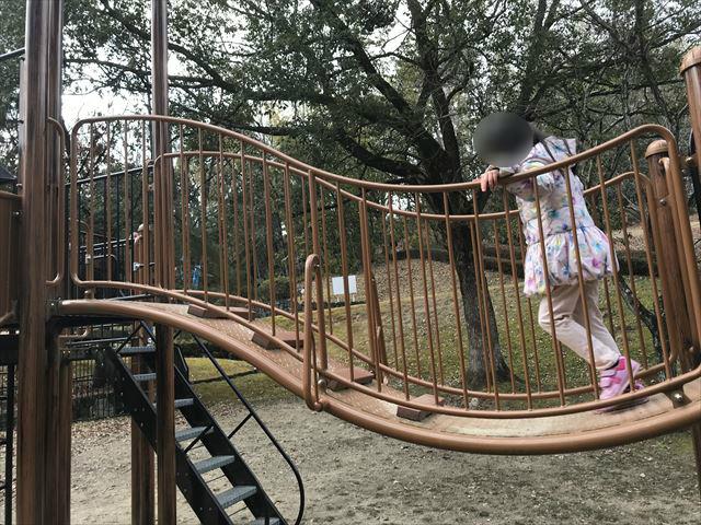 大渕池公園西地区の複合遊具(ミニアスレチックタイプ)。橋を渡る様子