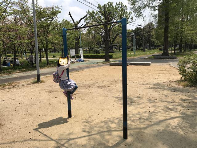 城北公園の遊具、大池東側ゾーンにある大きな鉄棒