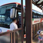 「洲本高速バスセンター」前で神姫バスに乗車する様子