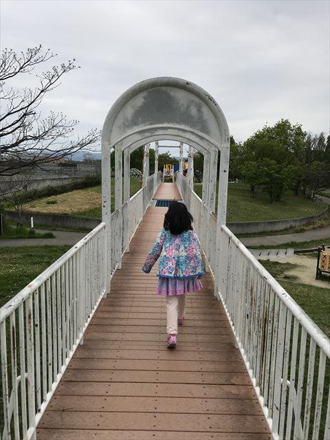 「水無瀬川緑地公園」橋を渡る娘