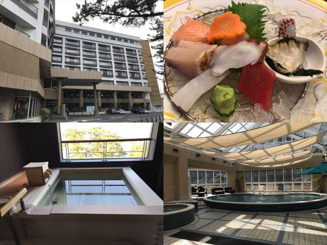 ホテル「夢海游 淡路島」入口、四季彩会席のお造り、貸切家族風呂、室内プール
