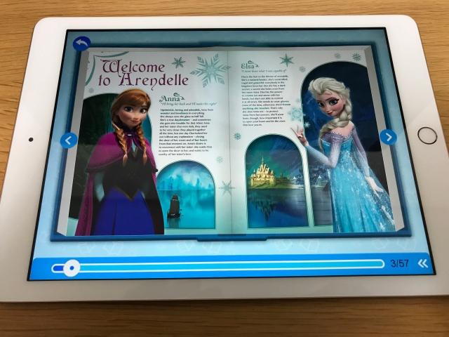 rakuten ABCmouse(楽天ABCマウス)「アナと雪の女王(Frozn)」のデジタル英語絵本(アナとエルサの紹介ページ)