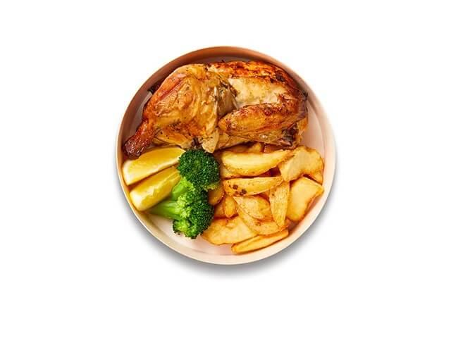 IKEAレストランテイクアウトメニュー「平飼い鶏の自家製ロティサリーチキンハーフサイズ」