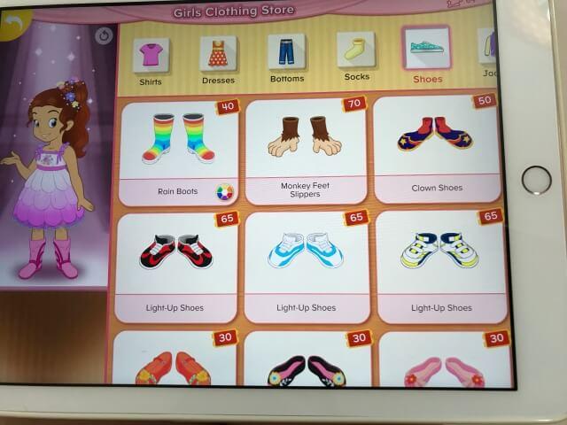 「楽天ABCマウス(Rakuten ABCmouse)」靴を買う場面