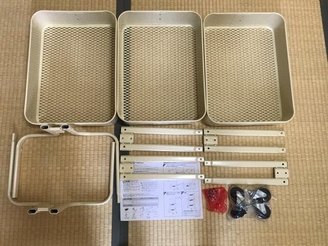 アイリスプラザの3段キッチンワゴン、組み立てパーツ