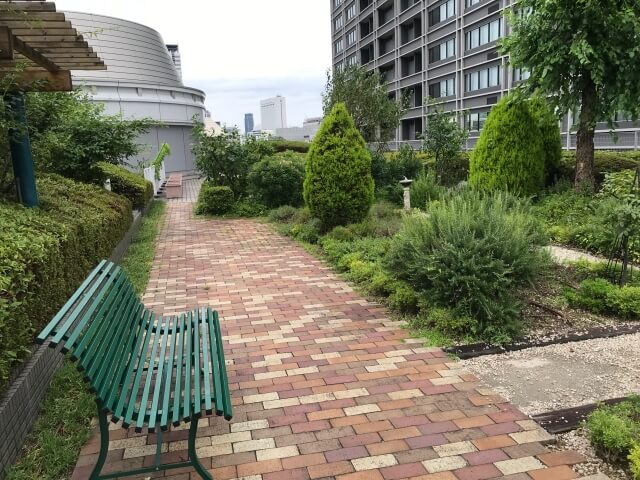 「OCAT屋上ガーデン」の緑とベンチ
