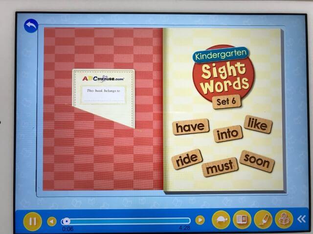 「楽天ABCマウス(ABCmouse)」読み聞かせ英語絵本「Sight words」の表紙