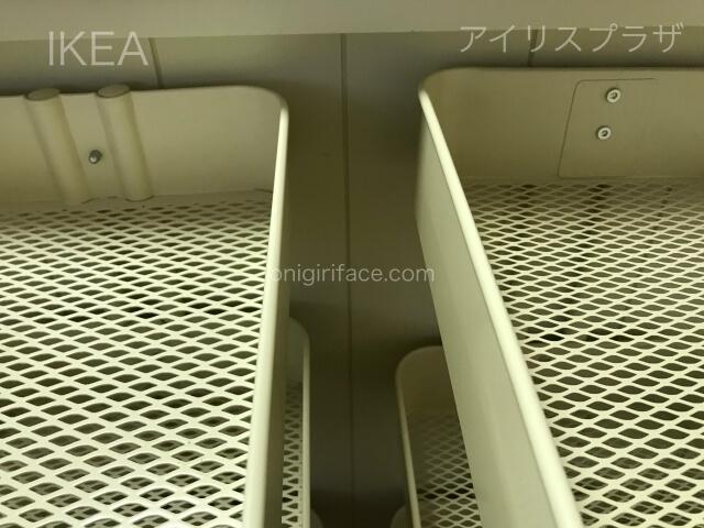 IKEAロースコグとアイリスプラザのキッチンワゴンを並べて棚の部分を撮影