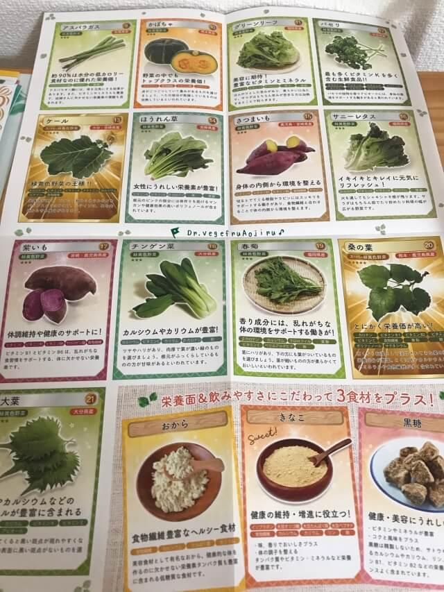 「ドクターベジフル青汁」21種類の野菜の産地が記載されている表