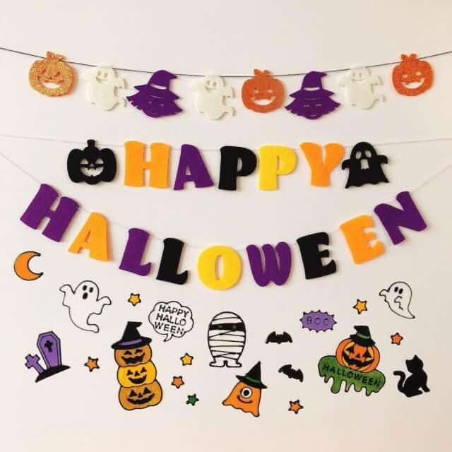 キャンドゥ「ハロウィングッズ2021」かぼちゃ、こうもり、おばけ、ねこのフェルトガーランド、ステッカー