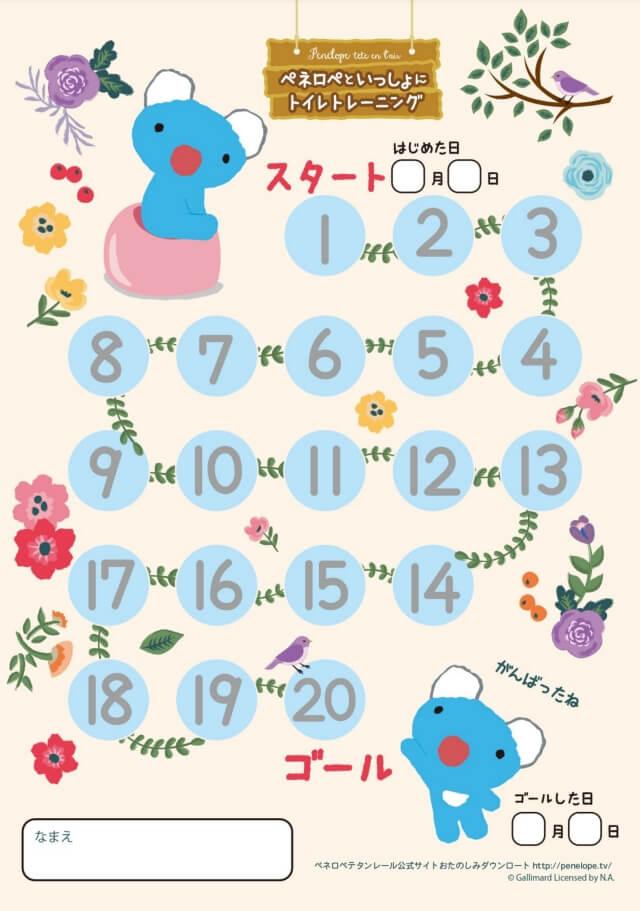 ペネロペのトイレトレーニング応援カレンダー