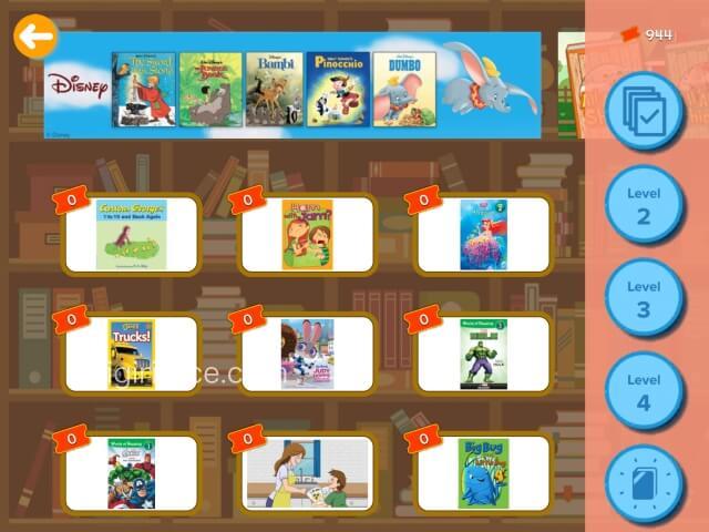 「楽天ABCマウス」デジタル英語絵本、ディズニー絵本が多い
