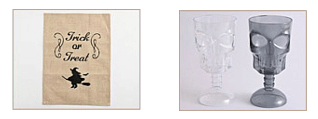 セリア「ハロウィングッズ2021」ハロウィンタペストリー、骨の形をしたカップ