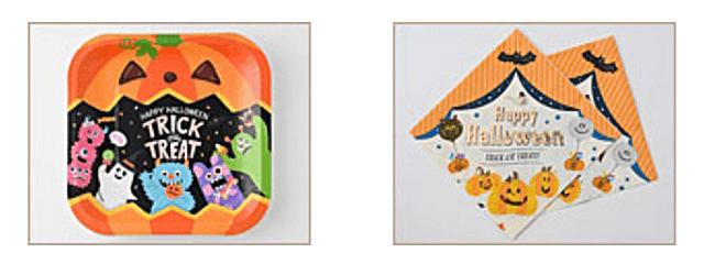 セリア「ハロウィングッズ2021」ハロウィンアニマルモンスターのペーパーナプキン、ペーパープレート