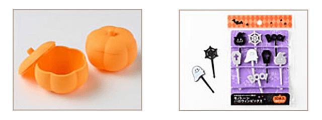 セリア「ハロウィングッズ2021」かぼちゃのおかずカップ、ハロウィンピック
