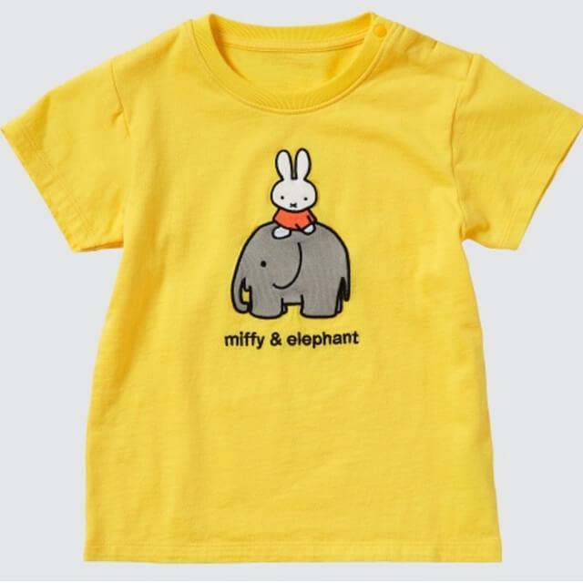 ユニクロ・ミッフィーコラボTシャツ2021(イエロー・ミッフィーとゾウのプリント)