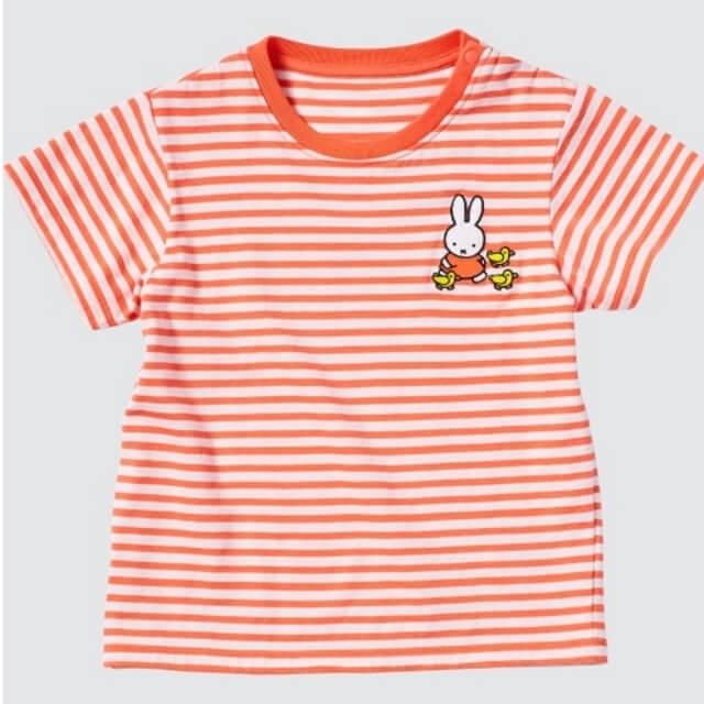 ユニクロ・ミッフィーコラボTシャツ2021(オレンジ・ホワイトボーダー)