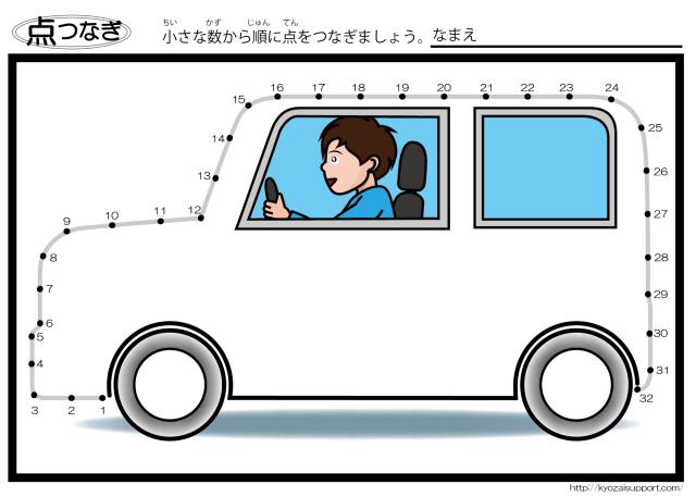わくわく教材「幼児教育・特別支援教育」点つなぎ・車