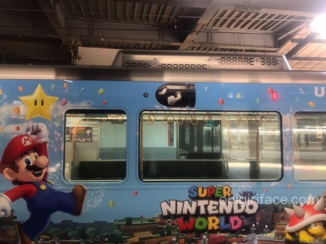 USJマリオ「スーパーニンテンドーワールド」ラッピング電車(マリオ、スター、トゲゾー)