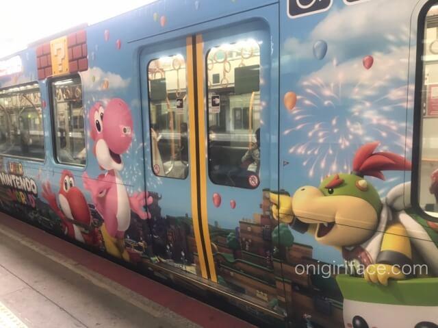 USJマリオ「スーパーニンテンドーワールド」ラッピング電車(ピンクと赤色のヨッシー、クッパJr)